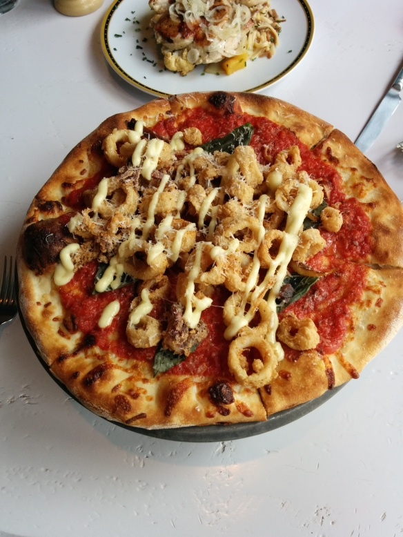 Marinara Pizza with fried calamari